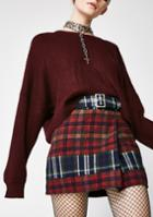 Honey Punch Plaid Belted Red Mini Skirt