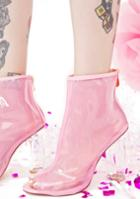 Cape Robbin Clear Pink Open Toe Perspex Boot
