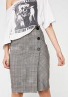 Etophe Studios Plaid Button Pencil Skirt