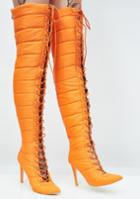Cape Robbin Thigh High Lace Up Orange Puffer Boots