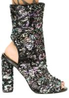 Cape Robbin Peep Toe Ankle Sequin Boots