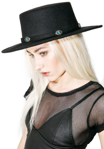 Fame Accessories Wide Brim Turquoise Charm Hat