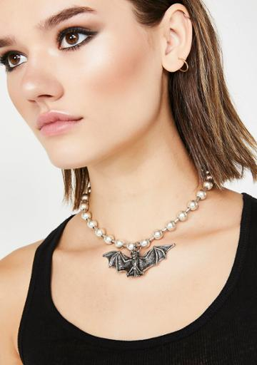 Ciel Silver Bat Ball And Chain Necklace