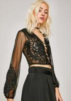 Hot & Delicious Lace Up Sheer Lace Top