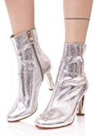 Cape Robbin Metallic Silver Contrast Ankle Boots