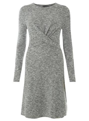 Dorothy Perkins *tall Grey Burshed Jersey Knot Front Fit And Flare Dress