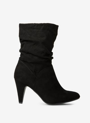 Dorothy Perkins Wide Fit Black 'kylie' Ruched Midi Boots