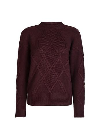 Dorothy Perkins Oxblood High Neck Cable Knitted Jumper