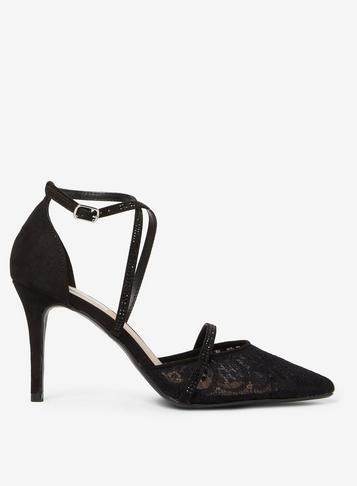 Dorothy Perkins *showcase Black Gemini Lace Cross Over Court Shoes