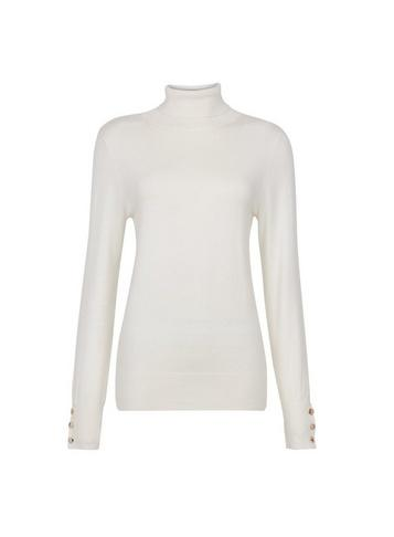 Dorothy Perkins Ivory Button Cuff Roll Neck Jumper
