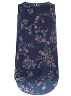 Dorothy Perkins Blue Floral Print Sleeveless Top