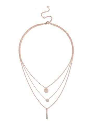 Dorothy Perkins Rose Gold Look Disc And Bar Drop Necklace