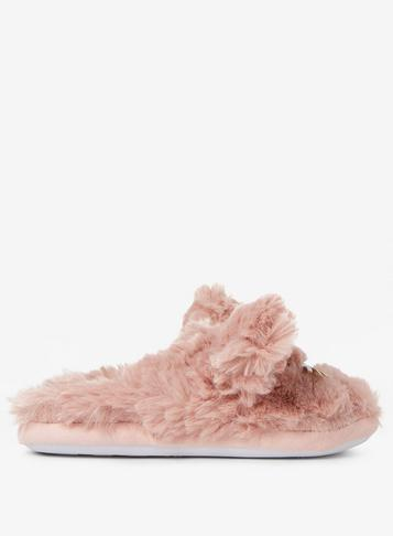 Dorothy Perkins Blush Cat Fluffy Mule Slippers