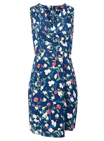 *izabel London Blue Floral Print Tie Back Shift Dress