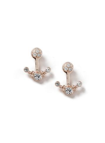 Dorothy Perkins Rose Gold Look Crystal Front Back Earrings