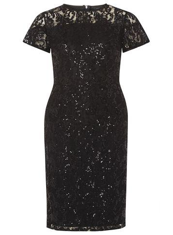 Dorothy Perkins Black Sequin Lace Pencil Dress
