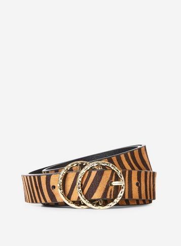 Dorothy Perkins Multi Coloured Curve Tiger Print Double Circle Belt