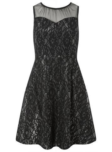 Dorothy Perkins *black And Silver Shimmer Lace Skater Dress