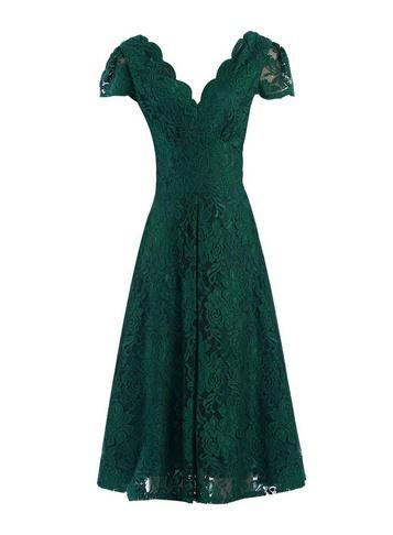 Dorothy Perkins *jolie Moi Green Scalloped Lace Dress