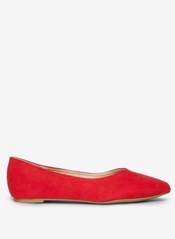 Dorothy Perkins Wide Fit Red Microfibre Pria Pumps