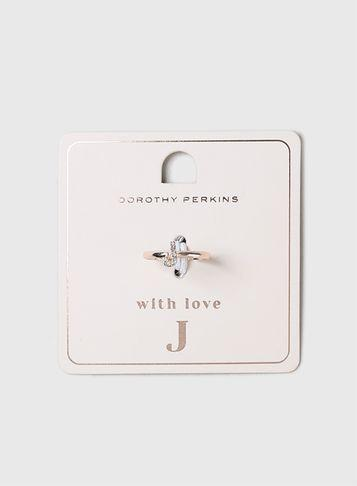 Dorothy Perkins Rose Gold Initial J Ring