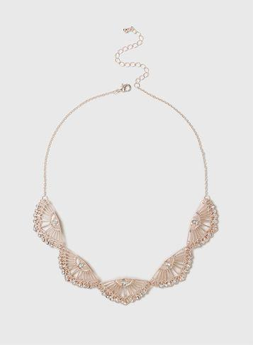 Dorothy Perkins Rose Gold Crystal Collar Necklace