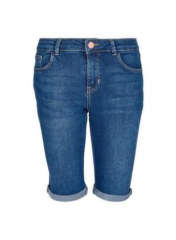 Dorothy Perkins Indigo Washed Knee Shorts