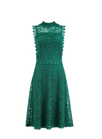 Dorothy Perkins Green Shirred Neck Lace Midi Dress