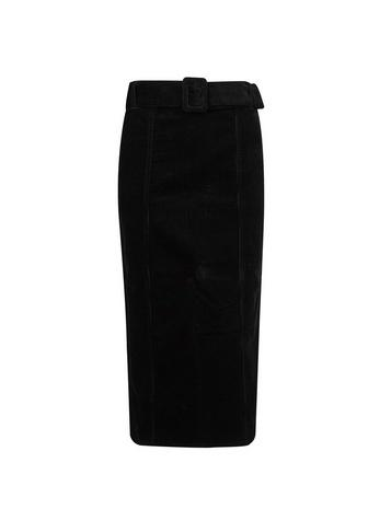 Dorothy Perkins *tall Black Corduroy Belted Midi Skirt