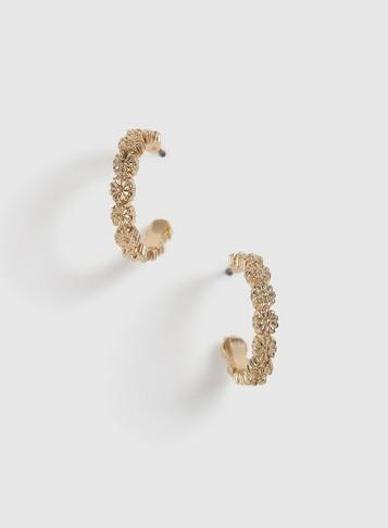 Dorothy Perkins Gold Floral Hoop Earrings