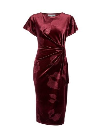 *lily & Franc Red Embossed Pencil Dress
