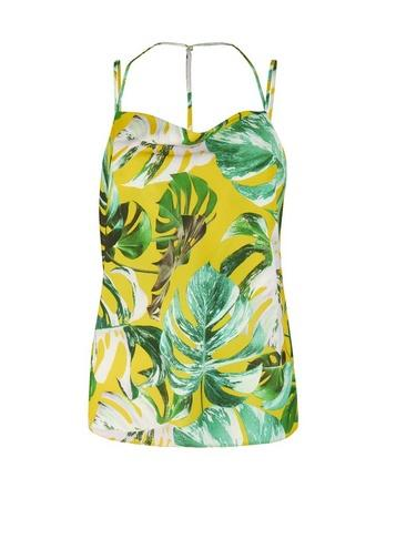 Dorothy Perkins Lime Tropical Print Cowl Neck Camisole Top