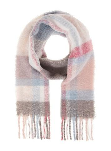 *quiz Pink Check Print Knitted Scarf