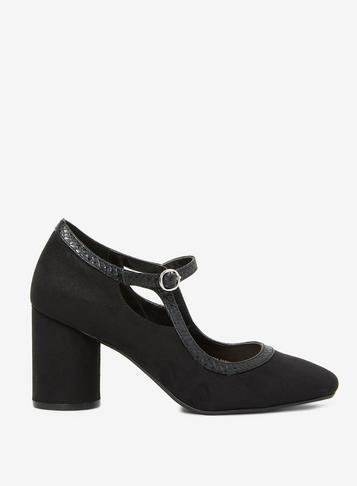 Dorothy Perkins Black Microfibre Glory Court Shoes