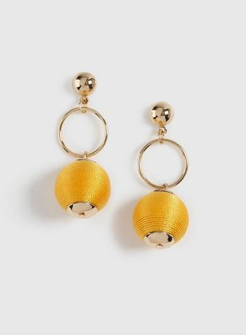 Dorothy Perkins Yellow Wrap Ball Drop Earrings