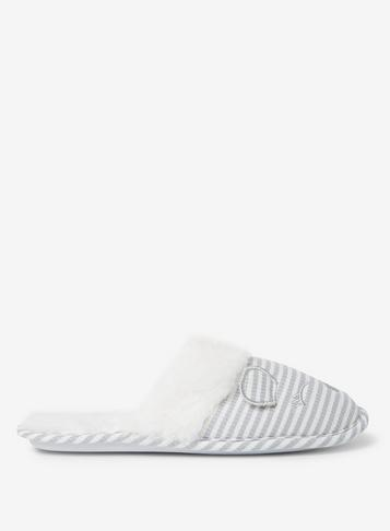 Dorothy Perkins Grey Striped Novelty Mule Slippers
