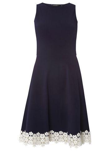 Dorothy Perkins Navy Lace Trim Hem Skater Dress
