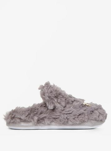 Dorothy Perkins Grey Cat Fluffy Mule Slippers