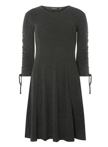 Dorothy Perkins Charcoal Ruched Sleeve Fit And Flare Dress
