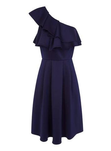 Dorothy Perkins *chi Chi London Navy Asymmetric Frill Midi Skater Dress
