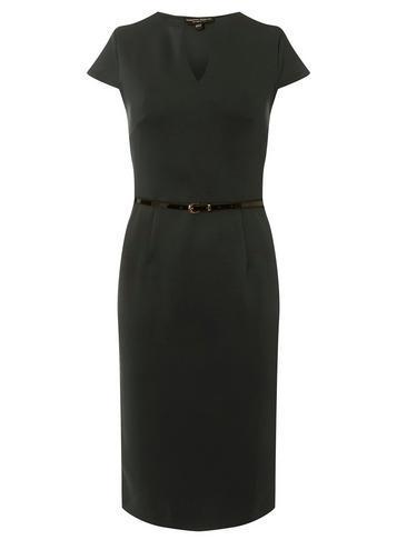 Dorothy Perkins *black Notch Belted Pencil Dress