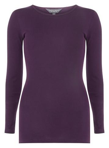 Dorothy Perkins *tall Wine Aw18 Long Sleeve Crew Neck Top