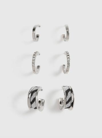 Dorothy Perkins Multipack Silver Zebra Print Hoop Earrings
