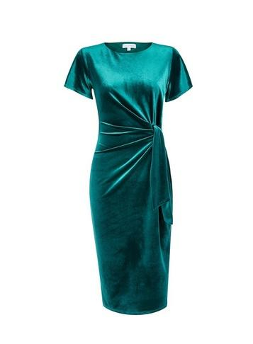 *lily & Franc Teal Manipulated Pencil Dress