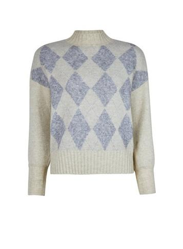 *only Cream Diamond Print Knitted Jumper