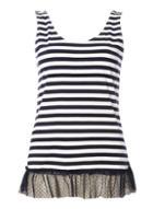 Dorothy Perkins Navy Stripe Mesh Hem Vest