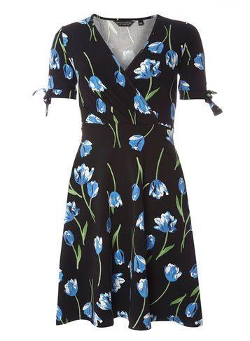 Dorothy Perkins Black Tie Sleeve Wrap Front Dress