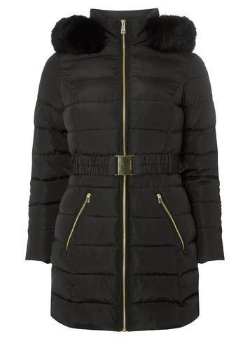 Dorothy Perkins Petite Black Longline Padded Coat