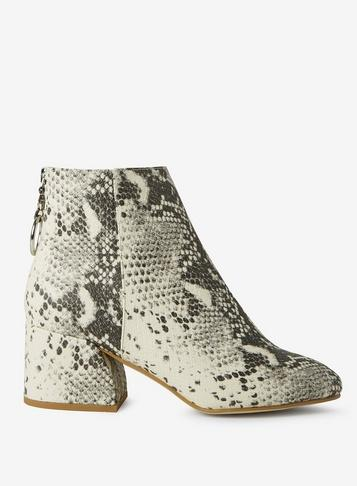 Dorothy Perkins Wide Fit Bulti Coloured Snake Print Adore Ankle Boots