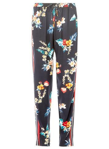 Dorothy Perkins Navy Tropical Print Side Striped Joggers